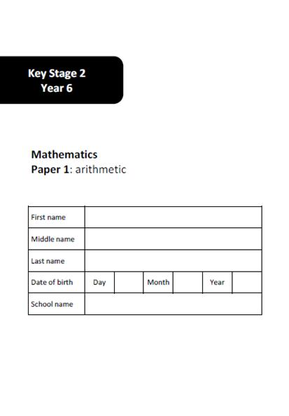 Year 6 SATs Arithmetic and Reasoning Practice Test Paper