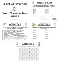 Year 1/2 Super at Spelling - Autumn Term Pack