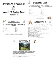 Year 1/2 Super at Spelling - Spring Term Pack
