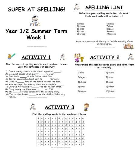 Year 1/2 Super at Spelling - Summer Term Pack
