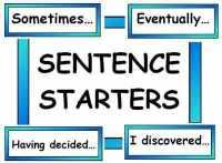 Sentence Starter Vocabulary Cards