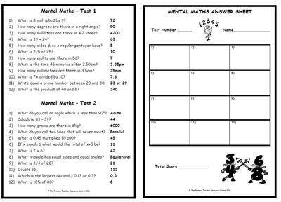 Mental Maths Test Pack 1