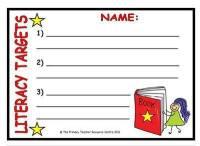Literacy Target Sheet