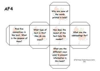 Guided Reading Activity Dice - Assessment Focus 4