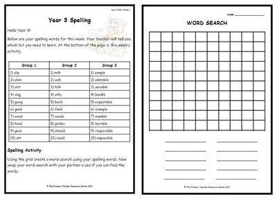 Year 3 Weekly Spelling Pack 1