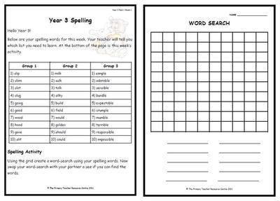 year 3 weekly spelling pack 1. Black Bedroom Furniture Sets. Home Design Ideas