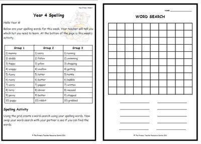 Year 4 Weekly Spelling Pack 1