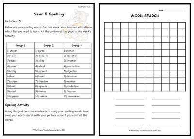 year 5 weekly spelling pack 1
