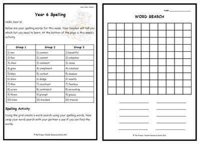 year 6 weekly spelling pack 1. Black Bedroom Furniture Sets. Home Design Ideas