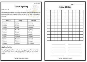 Year 4 Weekly Spelling Pack 2
