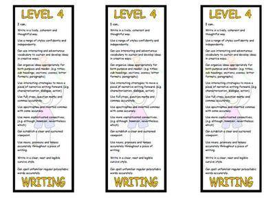 Level 4 Writing Bookmark