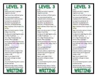 Level 3 Writing Bookmark