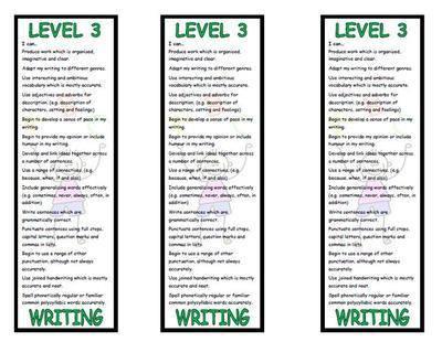 Level 3 Writing Bookmark