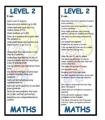 Level 2 Maths Bookmark