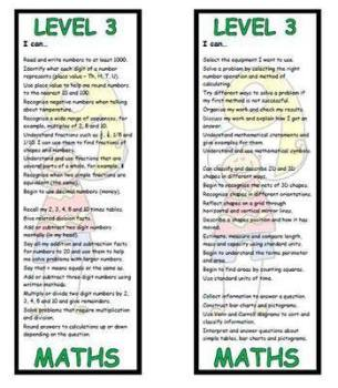 Level 3 Maths Bookmark