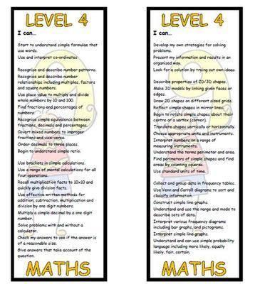 Level 4 Maths Bookmark