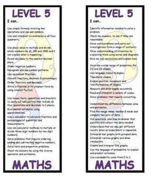 Level 5 Maths Bookmark