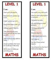 Level 1 Maths Bookmark