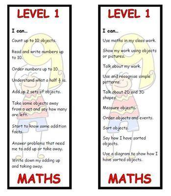 Level 1 Maths Bookmark
