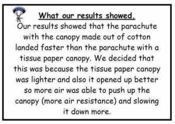 Forces Parachutes Science Investigation Display