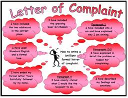 Letter of Complaint Success Criteria Poster