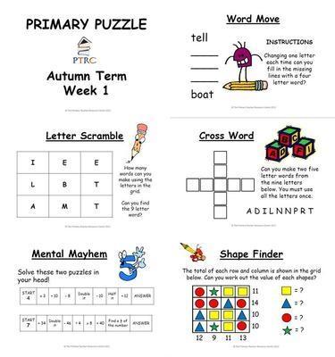 Primary Puzzle - Autumn Term Pack