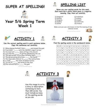 Year 5/6 Super at Spelling - Spring Term Pack