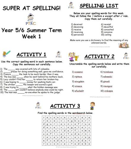 Year 5/6 Super at Spelling - Summer Term Pack