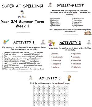 Year 3/4 Super at Spelling - Summer Term Pack