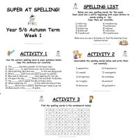 Year 5/6 Super at Spelling - Autumn Term Pack