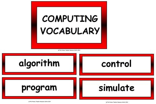 Computing and ICT Vocabulary Cards