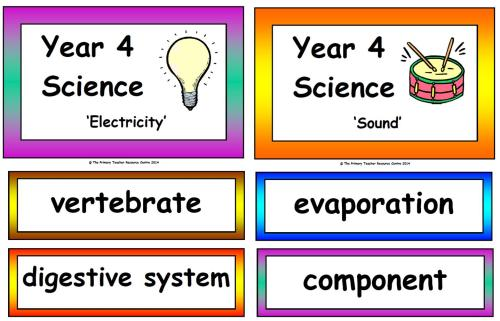 Year 4 Science Vocabulary Cards