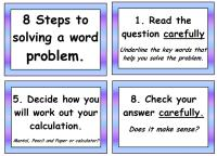 8 Steps to Solving a Word Problem Poster Pack
