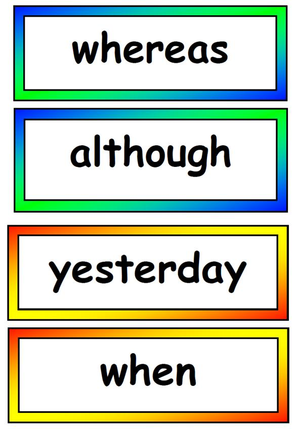 Connectives  Display Vocabulary Cards