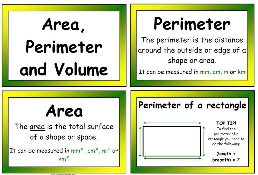 Free Worksheets free worksheets on area and perimeter : Perimeter Volume Poster Display Pack