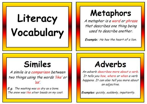 Literacy Vocabulary Display Posters