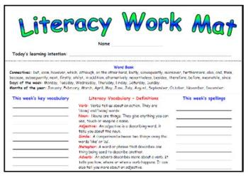 Literacy Work Mat