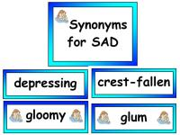 Synonyms display vocabulary cards for sad
