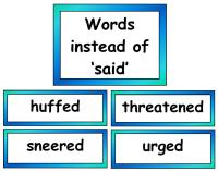 Synonyms for said vocabulary cards