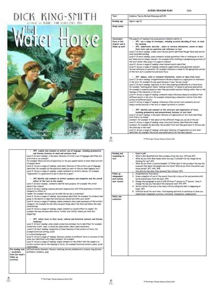 The Water Horse Guided Reading Plans