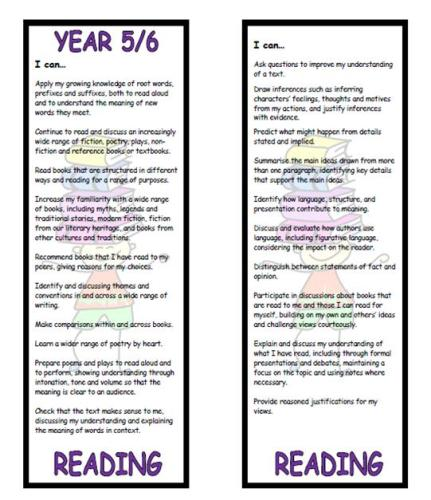Year 5/6 Reading Bookmark - New National Curriculum