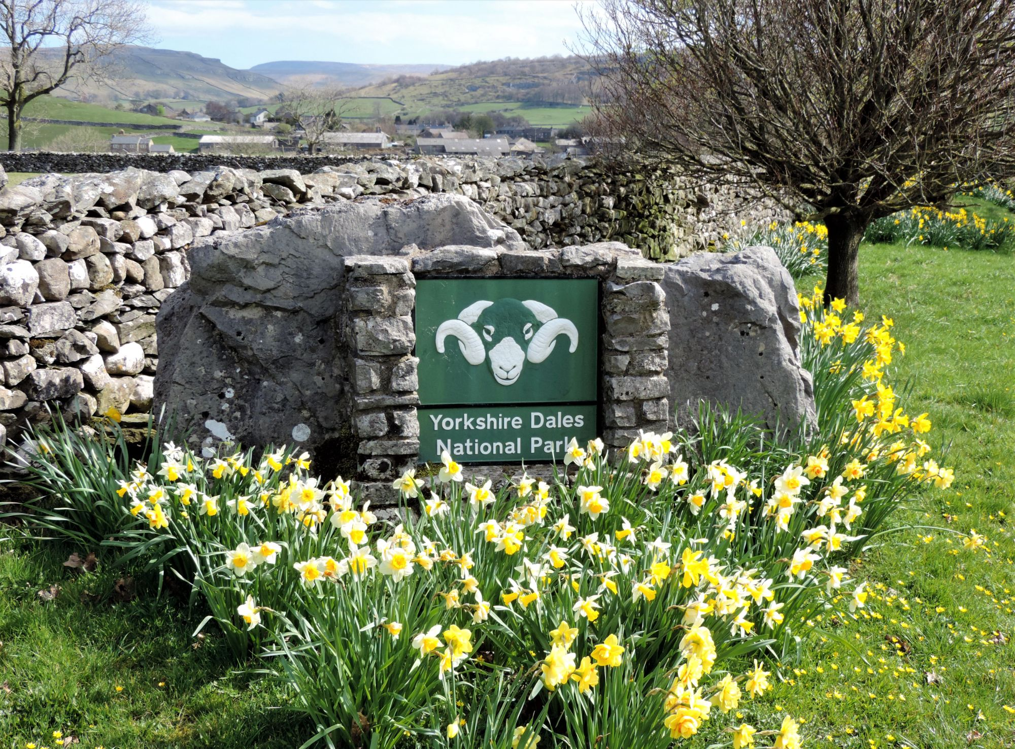 Yorkshire Dales National Park sign in Austwick village