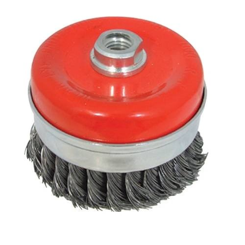 <!-- 055 -->Twist Knot Heavy-Duty Wire Cup Brush 100mm x M14