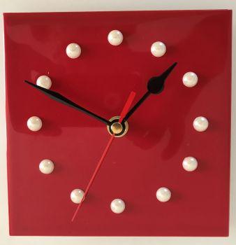 Tile Clock - Red