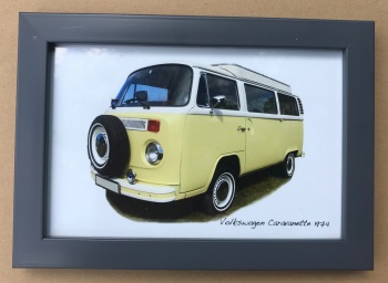 Volkswagen Caravanette 1974 - Photo (4x6in) in a Charcoal coloured frame- Free UK Delivery