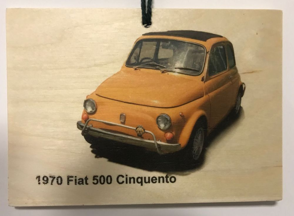 Ford 500 Cinquento 1970 - Wooden Plaque 148 x 105mm