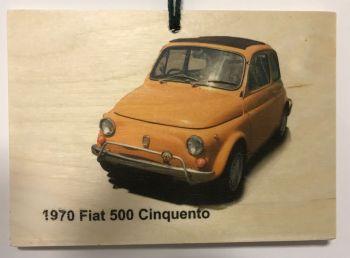 Ford 500 Cinquecento 1970 - Wooden Plaque A6 (105x148mm)