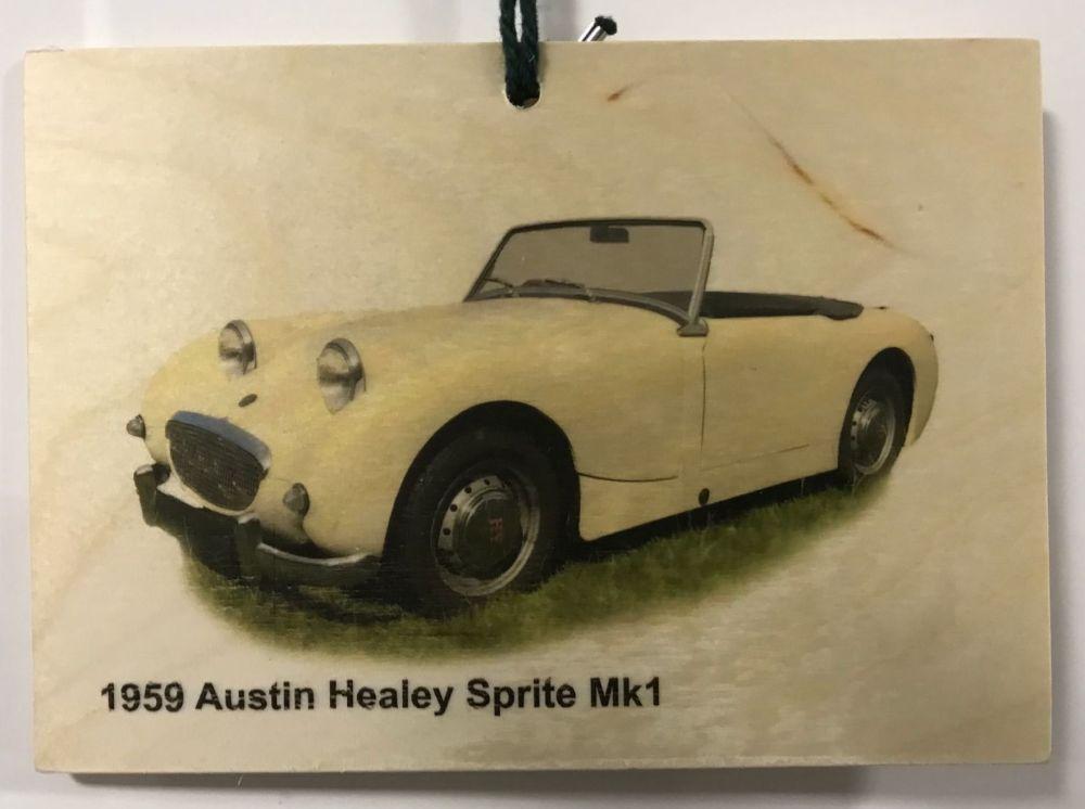 Austin Healey Sprite Mk1 1959 - Wooden Plaque 105 x 148mm