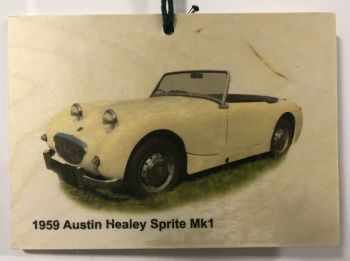 Austin Healey Sprite Mk1 1959 - Wooden Plaque A6(105x148mm) - Free UK Delivery