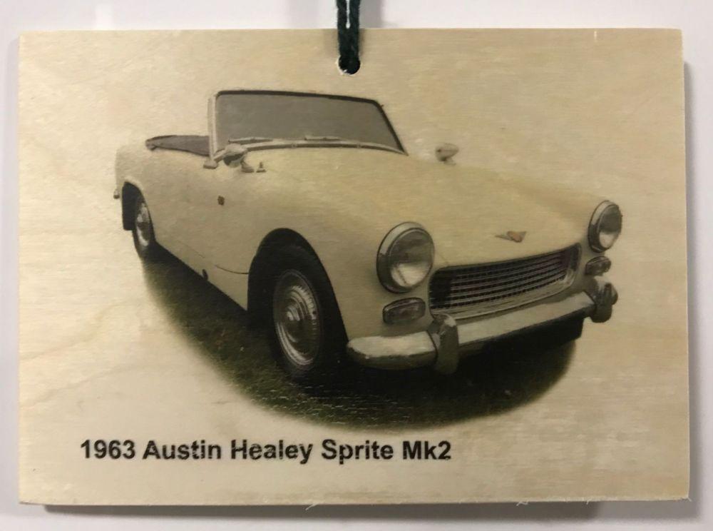 Austin Healey Sprite Mk2 1963 - Wooden Plaque 148 x 105mm